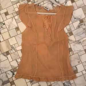 MOSCHINO designer chiffon sheer peach blouse